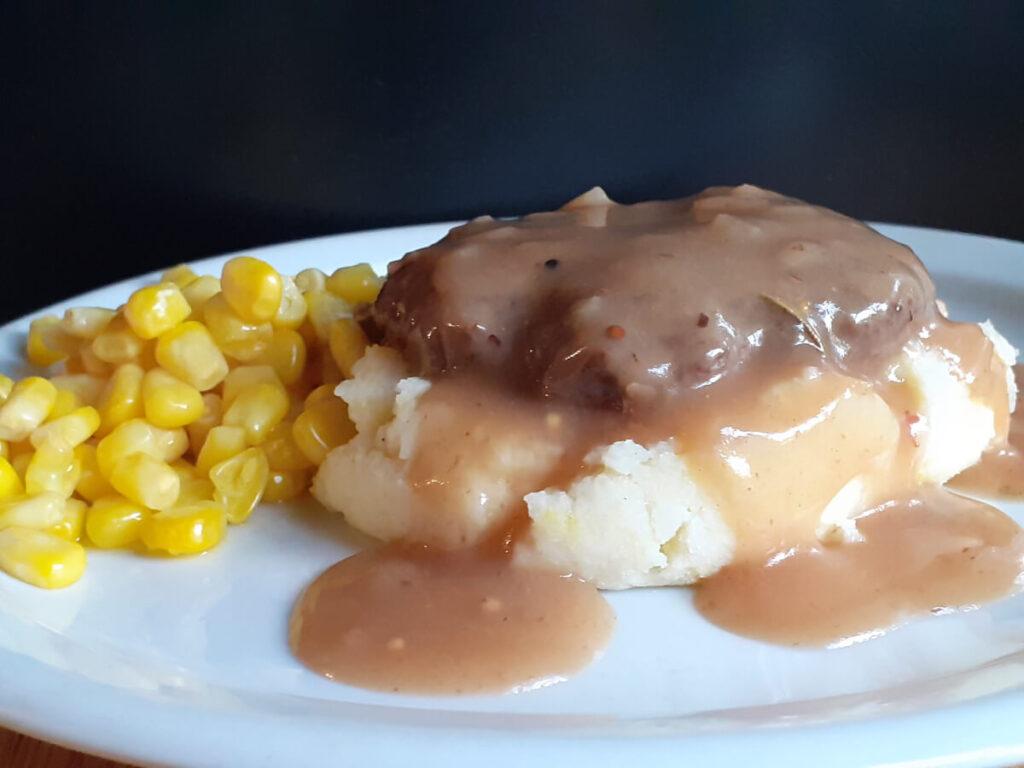 Single Salisbury Steak Mashed Potatoes and Corn