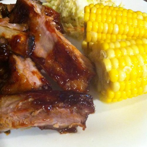 Ribs with Corn and Coleslaw