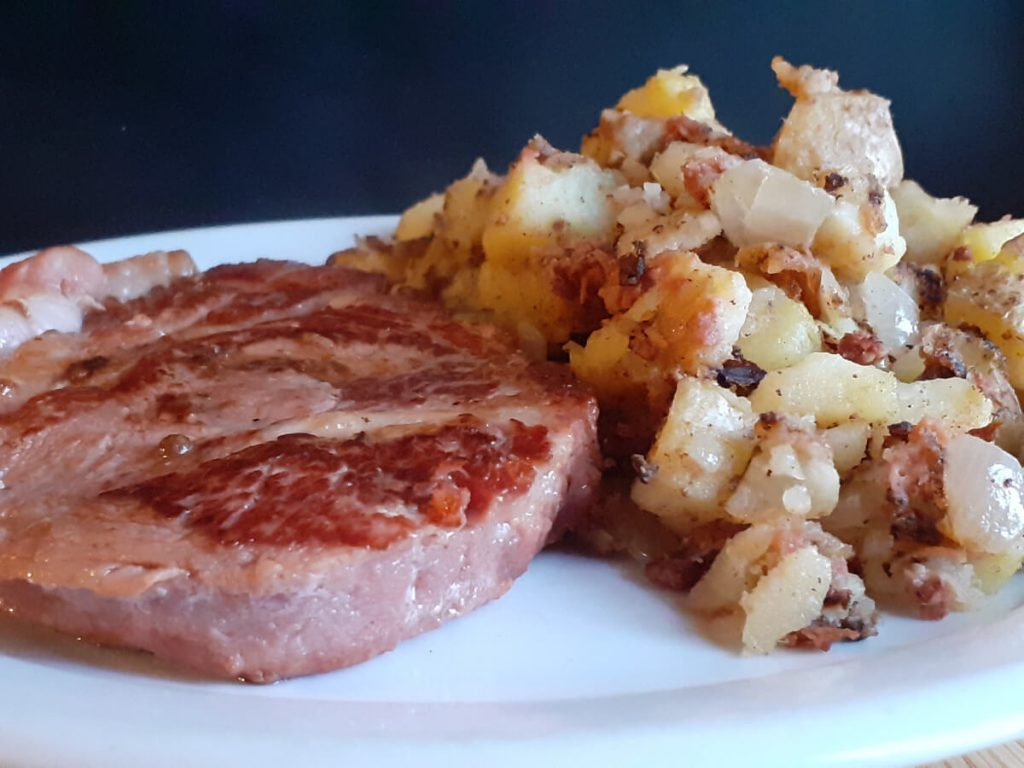 Ham Chops and Corned Beef Hash