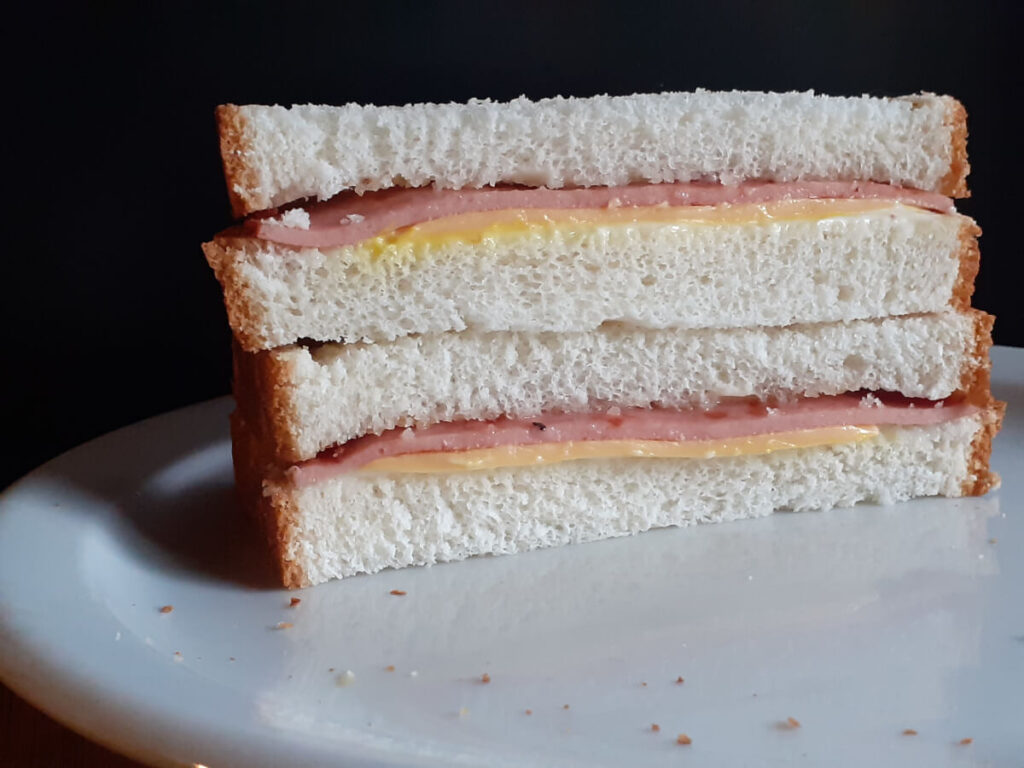 Bologna Sandwich with Cheese Mayo and Mustard